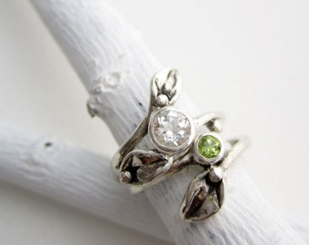 Leaf Ring,Set of 2 Rings, Silver Leaf Ring with 5mm White Topaz and 3mm Peridot, Engagement Rings