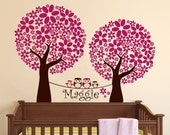 Children Vinyl Wall Decal Trees and Family of Owls Wall Decal