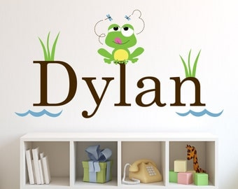 Children Wall Decal Frog with Name Vinyl decal