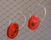 Red Coral Earrings, Sliced Coral