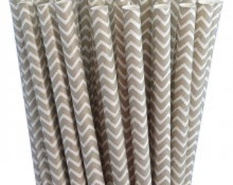 NEW Chevron Print Grey Paper Straws Pack of 25 w/PDF Flags
