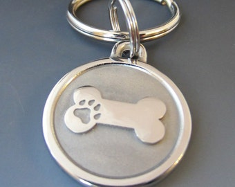 Large Stainless Steel Bone Pet Keychain