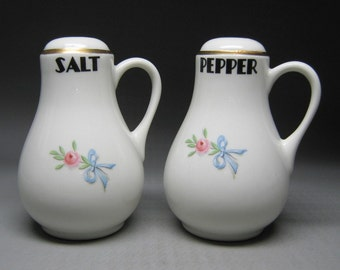 HALL WILDFIRE larger stove top salt and pepper shakers with handles rose gold blue ribbon