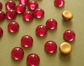 Vintage Glass Cabochon Round Gold Foiled Fuchsia Czech Glass, 7mm.