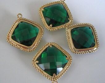 2pcs-Emerald 16K Gold Plated Brass Framed Glass Pendant 19.5mm x 21mm.