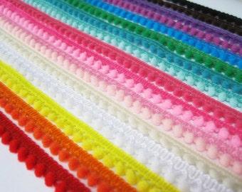39 Yards Tiny Pom Pom Trim (pom size 0.3 cm), Mini Pom Pom Trim, Colorful trim, Rainbow Trim, Pompom trim, pom pom fringe, wholesale pompoms