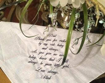 Straight edge monogrammed bridal handkerchief for wedding party