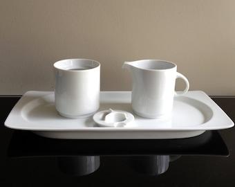Thomas Germany White Creamer, Sugar and Plate Set