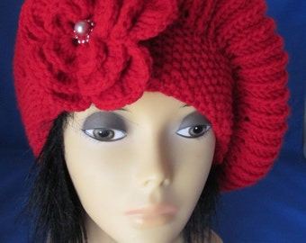 Hand-knitted Red  Beret, Hat with Beautiful Flower. Great gift for a someone special. Valentines Day Gift.