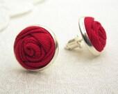 Red Rose Earrings - Fabric Flower Earrings - Simple Silver Stud Earrings