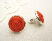 Tangerine Stud Earrings - Orange Fabric Flower Silver Post Earrings