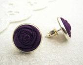Berry Purple Stud Earrings - Silver Earrings - Fabric Flower Earrings for Bridesmaids