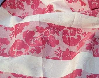 Decorator Fabric FIND Pink Jaquard Fleur de Leis Cotton Remnant