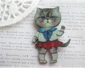 Sailor Girl Kitty Cat Brooch