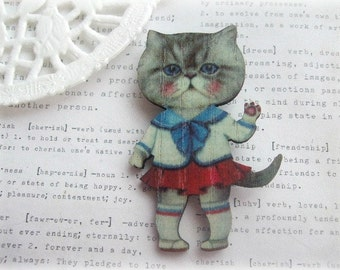 Sailor Girl Kitty Cat Brooch