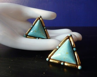 Turquoise and Gold Ceramic Earrings with Screw Back