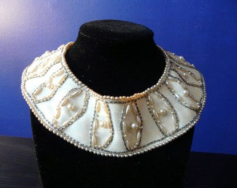 Vintage Pearl and Seed Bead Satin Collar