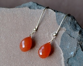 Carnelian Earrings, 14k Gold Filled, Dangling Orange Gemstones