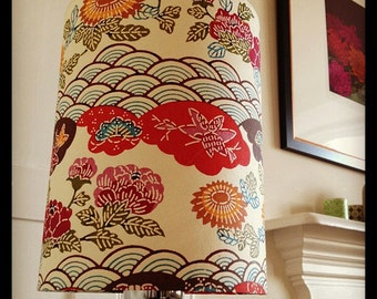"""MADE TO ORDER Cylinder Lampshade - Peony Cloud - 15cm diameter 20cm height (approx 6"""" x 8"""")"""