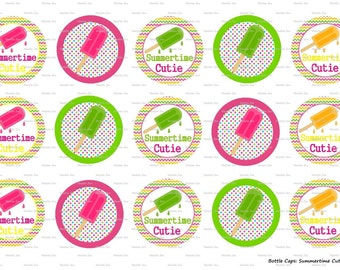 "15 Summertime Cutie Pops 1 Digital Download for 1"" Bottle Caps (4x6)"