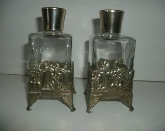 Vintage Pair of Perfume Bottles With Tin Stand