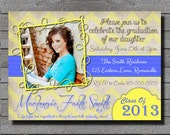 Graduation Invitation or Announcement Chevron Stripes - School Colors