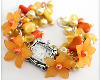 Chunky Beaded YELLOW and ORANGE  Cluster Wrist watch with flowers