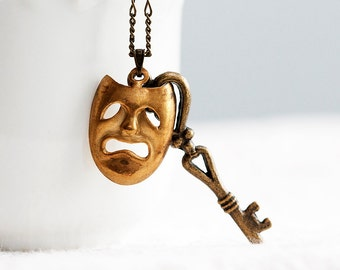 Mask Key Necklace Whimsical Face Skeleton Key Mystical Mask Necklace Quirky Bizarre - N277
