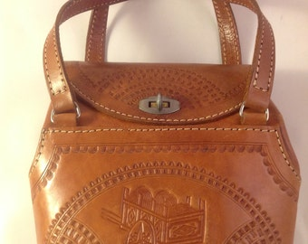 Vintage 1970's Medium Size Tooled Leather Handbag Purse