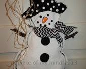 READY TO SHIP Full Body Snowman Burlap Door Hanger Winter Chevron Scarf