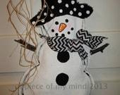 READY TO SHIP Full Body Snowman Burlap Door Hanger Winter Chevron Scarf