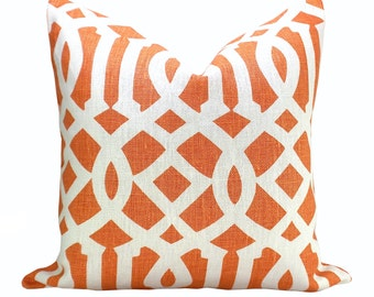Schumacher Imperial Trellis pillow cover in Mandarin
