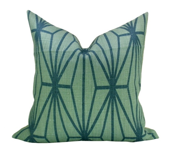 Kelly Wearstler Katana pillow cover in Jade/Teal