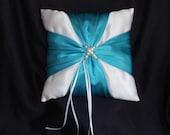 Turquoise Blue White Square Satin Pearls Ribbon Ring Bearer Pillow Bow Wedding Bridal