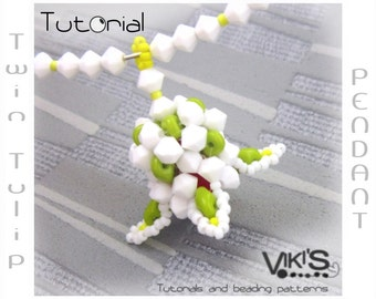 Pendant Tutorial with Super Duo or Twin beads: Twin Tulip - Instant Download PDF