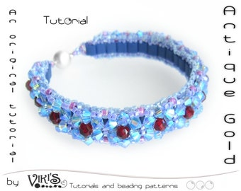 "TUTORIAL:  Beadwoven Bracelet with Tila  ""Antique Gold"" (Instant Download PDF)"