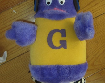 Vintage McDonald's Restaurant 1984 Grimace Plush Doll Collectible with Sweat Headband and Earphones kitschy toy