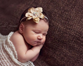 Flower Headband, Newborn Photography Prop, Beautiful Newborn Vintage Cream Flower Headband, Photography Prop, All Sizes, Baby Headband
