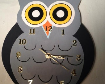Hand Painted Owl Clock