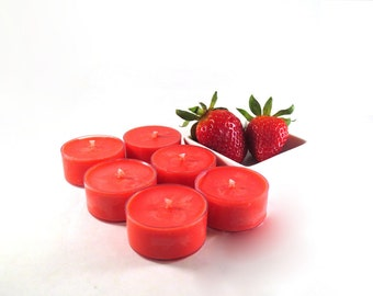 Sweet Strawberry Soy Tea Light Candles - Set of 6