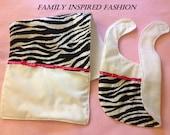 Baby girl bib and burp cloth zebra print with pink