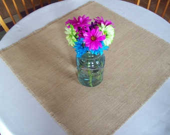 Burlap Table Square, Wedding Table Squares, Table Overlays, Sizes 24 x 24, 30 x 30, 36 x 36, Rustic Table Topper, Fall Wedding Table Decor