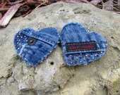 Earrings - Heart Shaped Recycled Abercrombie Denim Hand Beaded  Upcycled