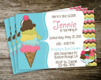 Ice Cream Shop Sundae Yogurt Candy Birthday Party  Girl Invitation