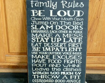 "Primitive ""Dysfunctional Family Rules"" funny wood subway sign 12 x 24 - your color choice"