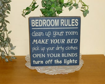 """Primitive """"Bedroom Rules"""" wood sign - your color choice"""