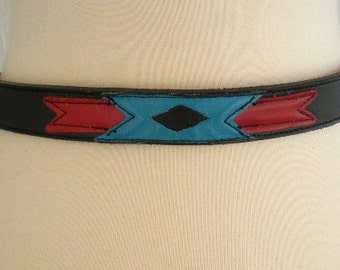 vintage 80s leather belt  black with turquoise and red leather  southwestern design nocona