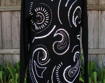 Vintage 80s Oleg Cassini black sequins & pearls shirt top M b38 avant garde glam sparklie