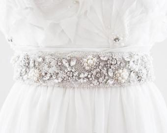 MIRANDA - Rhinestone and Pearl Beaded Bridal Belt, Wedding Sash