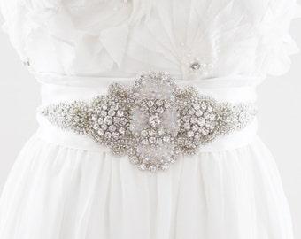 JASMINE - Rhinestone Beaded Bridal Sash, Wedding Belt